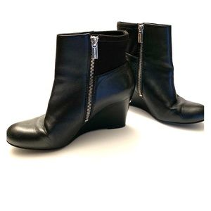 Michael Kors black leather wedge booties boots